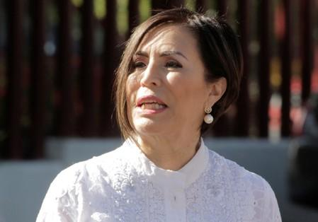 Former Minister of Social Development Rosario Robles arrives for a hearing on corruption charges at a court in Mexico City