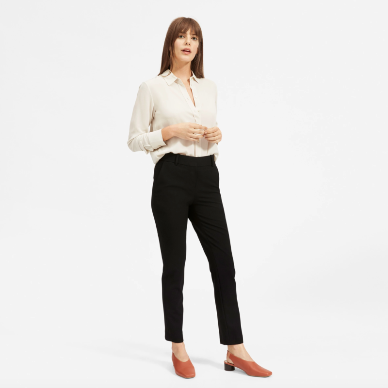 The Clean Silk Relaxed Shirt in Stone. Image via Everlane.