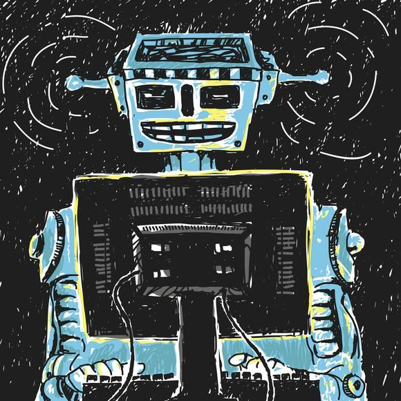 Graphic of robot typing at a computer.