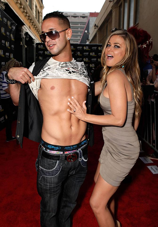 """Jersey Shore"" star Mike ""The Situation"" Sorrentino flashed his famous abs (and his Ed Hardy underwear) to an appreciative Carmen Electra at Logo's NewNowNext Awards taped on Tuesday at The Edison in LA. Todd Williamson/<a href=""http://www.wireimage.com"" target=""new"">WireImage.com</a> - June 8, 2010"