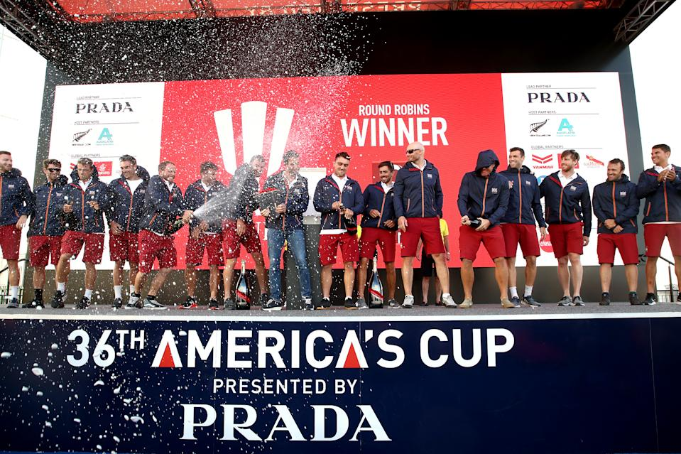 Britain's Team Ineos UK celebrate winning the round robin phase of the challenger regatta at the America's Cup to book their place in the Prada Cup final in Auckland.