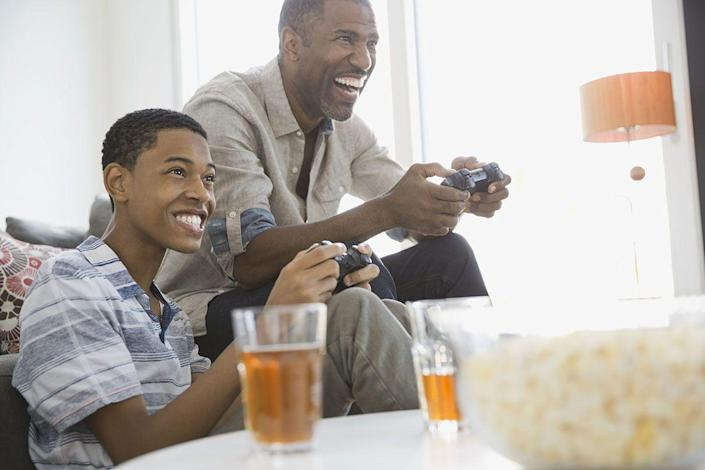 """<p>If Dad loves playing video games, join him for a couple of hours of <em>Mario Kart </em>or <em>Fortnite</em>. If you're celebrating from afar, you can get everyone together to play a game online. <a href=""""https://www.jackboxgames.com/what-is-jackbox/"""" rel=""""nofollow noopener"""" target=""""_blank"""" data-ylk=""""slk:Jackbox Games"""" class=""""link rapid-noclick-resp"""">Jackbox Games</a> has some fun options, and it's easy for people to join in and play. </p>"""