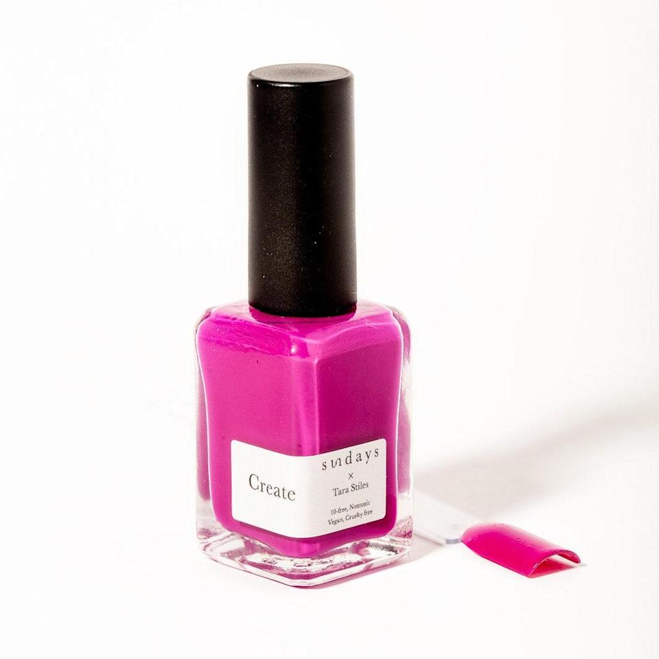 If you've ever had the opportunity to visit one of Sundays' New York City studios, you know that even the experience itself <em>feels</em> nontoxic. Its simplicity and chill vibes carry over into the brand's vegan, 10-free nail polish formula, which is regularly being reimagined in new colors. Among the latest: a trio of shades in collaboration with yoga superstar Tara Stiles, including the gorgeous Create shade seen here.