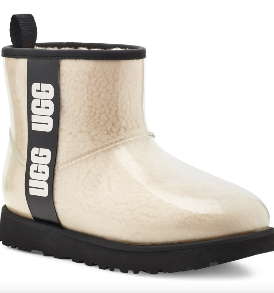 beige and black UGG Classic Mini Waterproof Clear Boots with logo