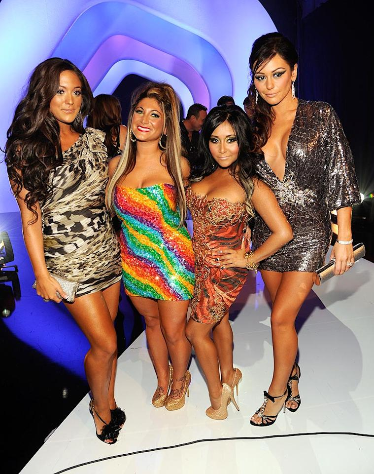 "Unfortunately, the same couldn't be said for the ""Jersey Shore"" girls -- (from left to right) Sammi Giancola, Deena Cortese, Nicole ""Snooki"" Polizzi, and Jenni ""JWoww"" Farley -- who managed to escape Hurricane Irene and look trashtastic as usual! Kevin Mazur/<a href=""http://www.wireimage.com"" target=""new"">WireImage.com</a> - August 28, 2011"