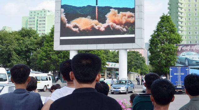 A large screen in Pyongyang shows the missile launch. Source: AAP