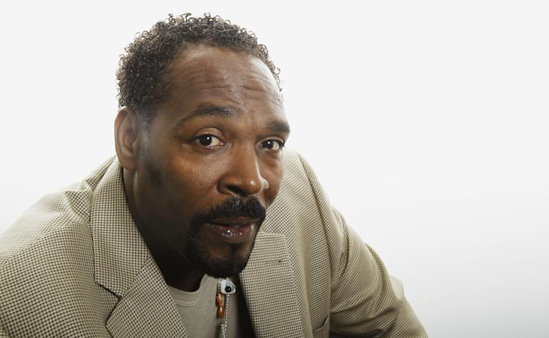 FILE - On April 13, 2012 file photo, Rodney King poses for a portrait in Los Angeles. The Rev. Al Sharpton and other civil rights leaders will join family and friends in Los Angeles at a public funeral service for Rodney King Saturday June 30, 2012. The funeral comes nearly two weeks after King was found dead at the bottom of the swimming pool at his Rialto, Calif. home on June 17. He was 47. (AP Photo/Matt Sayles, File)