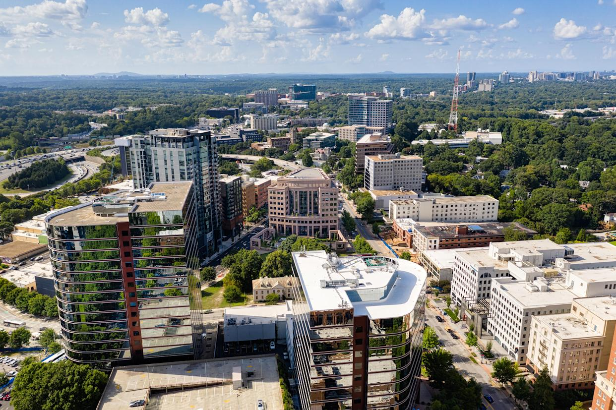 Aerial view Midtown Atlanta skyline and Buckhead in the background (Getty Images)