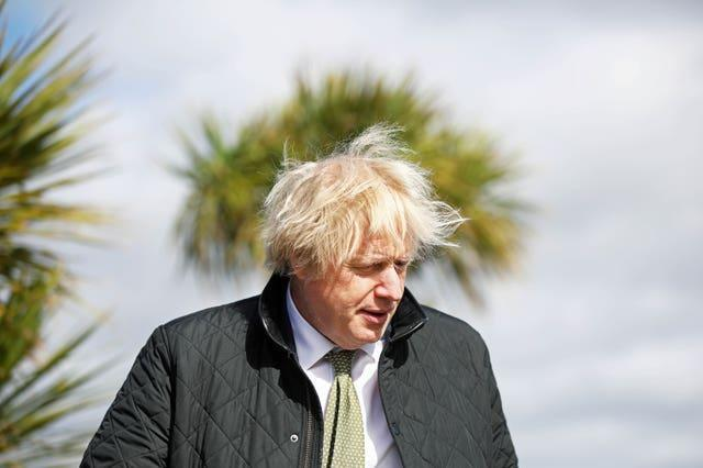Prime Minister Boris Johnson during a visit to Haven Perran Sands Holiday Park in Perranporth, Cornwall