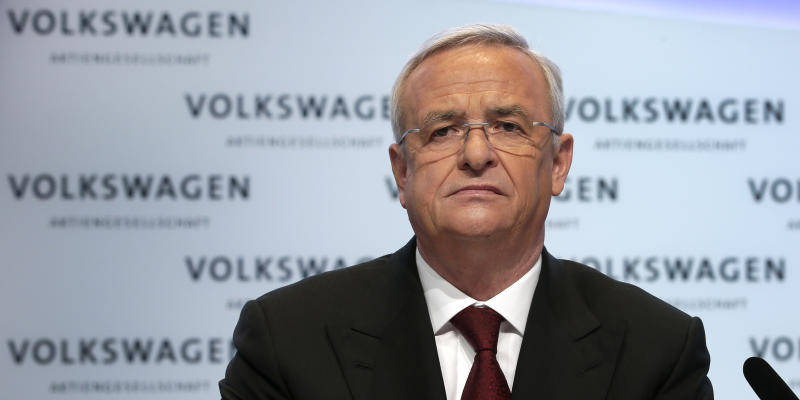 Volkswagen CEO Martin Winterkorn attends the company's annual press conference in Berlin, Germany, Thursday, March 13, 2014. German automaker Volkswagen is raising its dividend after turbocharged earnings from its Porsche luxury line outweighed slipping revenues from mass-market cars. (AP Photo/Michael Sohn)