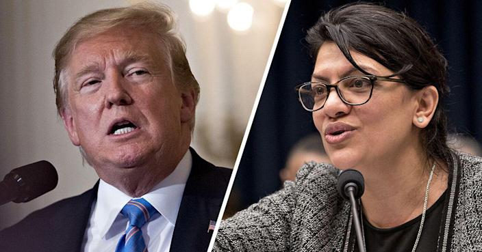 President Trump and Rep. Rashida Tlaib, D-Mich. (Photos: Andrew Harrer/Bloomberg via Getty Images)