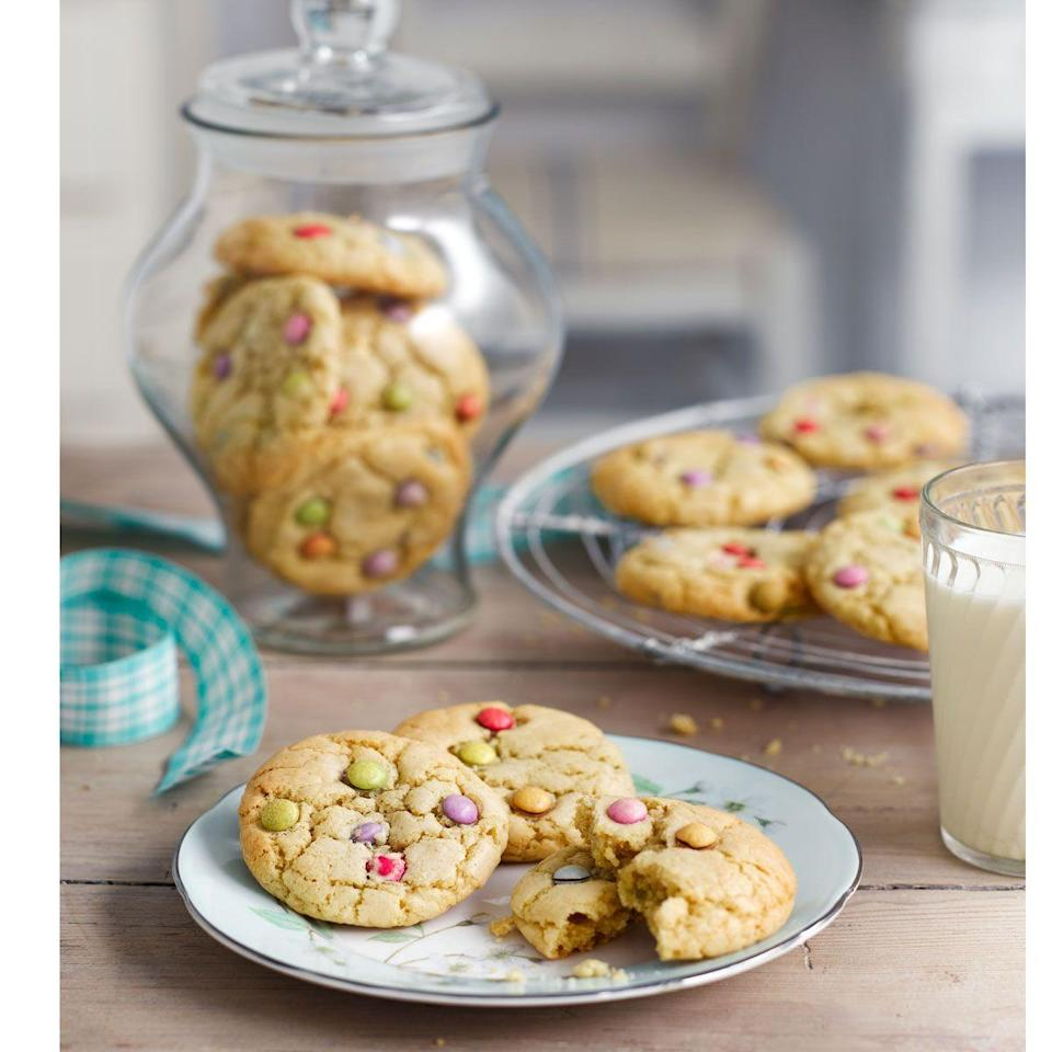 """<p>Kids and adults alike will love these chewy smarties cookies.</p><p><strong>Recipe: <a href=""""https://www.goodhousekeeping.com/uk/food/recipes/a553085/smarties-cookies/"""" rel=""""nofollow noopener"""" target=""""_blank"""" data-ylk=""""slk:Smarties cookies"""" class=""""link rapid-noclick-resp"""">Smarties cookies</a></strong></p>"""