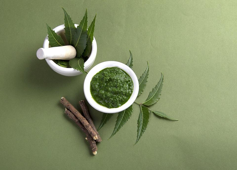 Traditionally used in Ayurvedic remedies for its purifying quality, the neem leaves were crushed into a paste and applied directly to infected skin