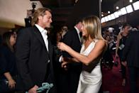 """<p>Jennifer Aniston and Brad Pitt have gone from film's hottest couple to husband and wife to nemeses to...great friends? It seems so: Pitt and Aniston have been seen more and more together in the years post-split. And now that Pitt and Aniston are both single once again, following Pitt's ongoing divorce from Angelina Jolie and Aniston's divorce from Justin Theroux, <a href=""""https://www.marieclaire.com/celebrity/a18206916/jennifer-aniston-brad-pitt-back-together-theory/"""" rel=""""nofollow noopener"""" target=""""_blank"""" data-ylk=""""slk:debating whether or not they will (or should) reunite"""" class=""""link rapid-noclick-resp"""">debating whether or not they will (or should) reunite</a> has become a national pastime. </p><p>After a certain SAG awards ceremony, fans went into overdrive. You know, the one where <a href=""""https://www.marieclaire.com/celebrity/a30589117/brad-pitt-jennifer-aniston-sag-photos-reactions/"""" rel=""""nofollow noopener"""" target=""""_blank"""" data-ylk=""""slk:the exes were spotted together publicly for the first time in a while"""" class=""""link rapid-noclick-resp"""">the exes were spotted together publicly for the first time in a while</a> and appeared to be delighted to see each other? Since then, fans have been convinced it's just a matter of time until the two get together again, even though the exes insist they're just good friends. They've have been anxiously awaiting any and all updates, included a very special Zoom scene the two did together (if you don't know what we're talking about, just wait 'til you see it). In honor of The Great Debate, let's take a look back at Brad and Jen's love story, spanning over a quarter of a century, and the latest developments. </p>"""