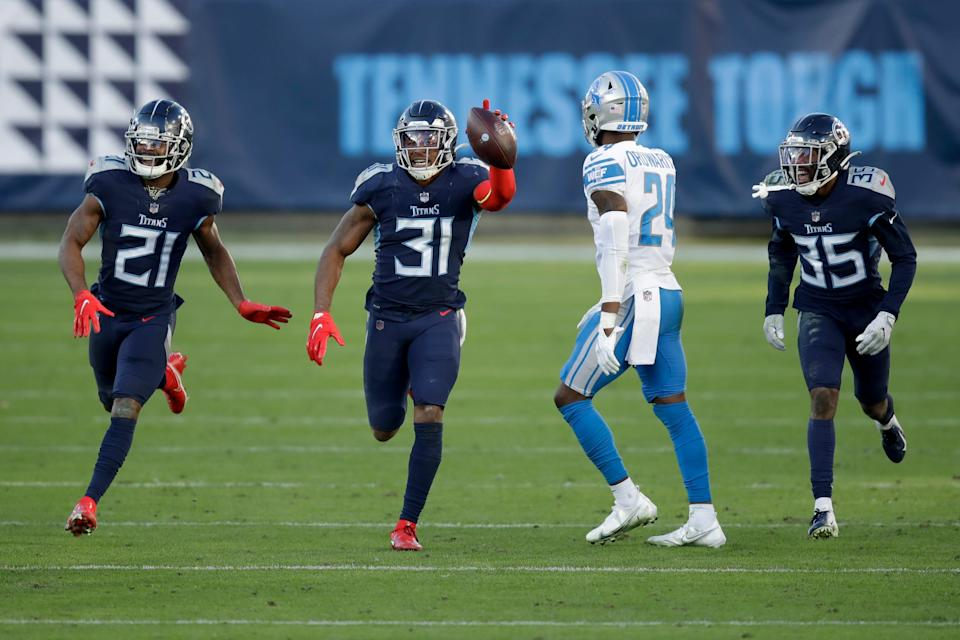 Tennessee Titans safety Kevin Byard (31) celebrates a play against the Detroit Lions during the second half Sunday, Dec. 20, 2020, in Nashville, Tenn.