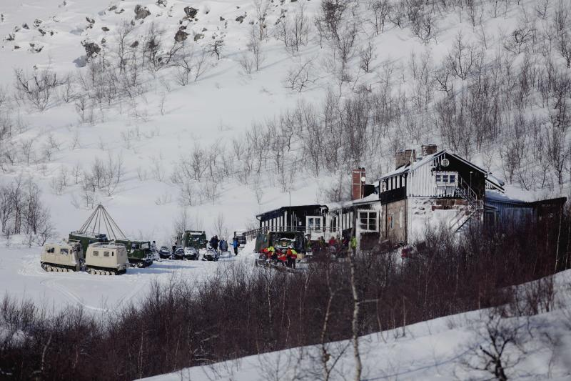 A general view of the Kebnekaise Mountain Lodge in northern Sweden Saturday March 17, 2012 which serves as a base for the search and rescue effort for the missing Hercules C130 cargo aircraft missing since Thursday March 15, 2012. Rescuers have found the wreckage of a Norwegian military plane that crashed with five people on board during an exercise in northern Sweden, officials said Saturday. (AP Photo/Stian Lysberg Solum/Scanpix Norway) NORWAY OUT