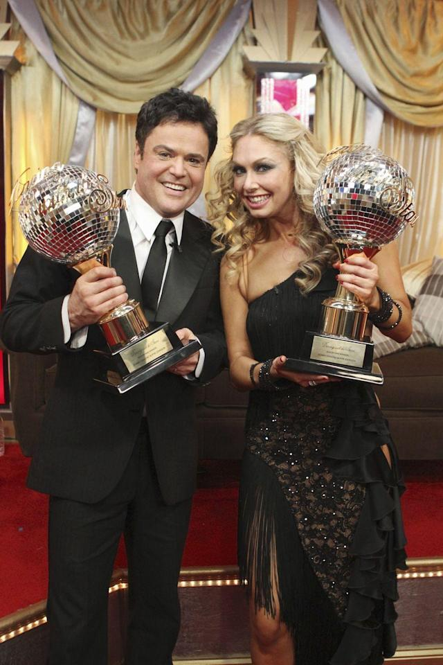 """<p>It's no surprise the theatrical Donny Osmond was able to win <em>DWTS </em>season nine. He was paired with Kym Johnson, who honed into <a href=""""https://youtu.be/xtLhqNxecx0"""" rel=""""nofollow noopener"""" target=""""_blank"""" data-ylk=""""slk:Donny's skills"""" class=""""link rapid-noclick-resp"""">Donny's skills</a> perfectly.</p>"""