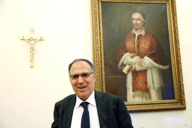 President of the Vatican's Financial Information Authority (AIF) Carmelo Barbagallo smiles during an interview