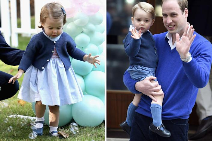 <p>Princess Charlotte wore her elder brother's classic cardigan during the Cambridges' 2016 royal tour of Canada. George donned the sweater the previous year, when Prince William brought him to the hospital to meet his newborn sister.<br></p>