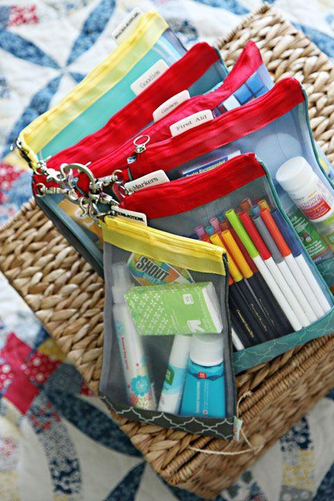 """<p>Store smaller necessities, like a first aid kit, toiletries, and kids' favorite car activities in fabric bags that zip to hold everything in place.</p><p><em><a href=""""http://iheartorganizing.blogspot.com/2013/04/happy-travels-auto-organization.html"""" rel=""""nofollow noopener"""" target=""""_blank"""" data-ylk=""""slk:See more at I Heart Organizing »"""" class=""""link rapid-noclick-resp"""">See more at I Heart Organizing »</a></em><br></p>"""