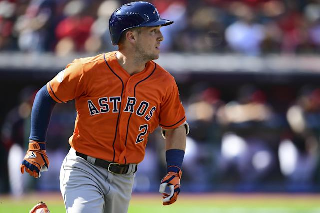 Houston Astros' Alex Bregman runs the bases after hitting a double in the first inning during Game 3 of a baseball American League Division Series, Monday, Oct. 8, 2018, in Cleveland. (AP Photo/David Dermer)