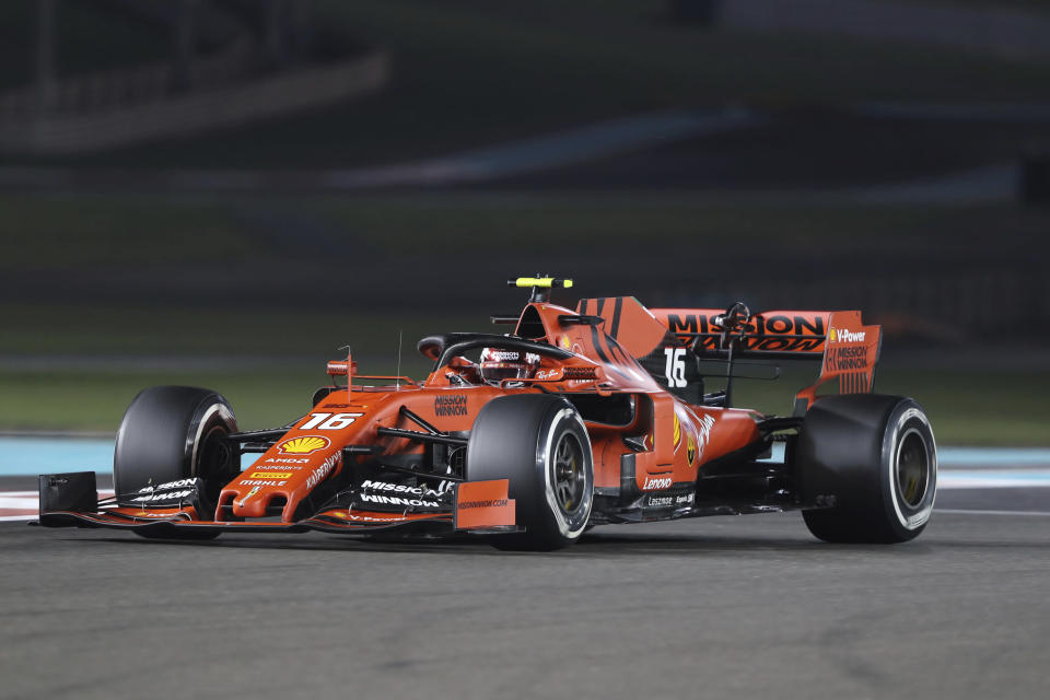 Ferrari driver Charles Leclerc of Monaco steers his car during the second free practice at the Yas Marina racetrack in Abu Dhabi, United Arab Emirates, Friday, Nov. 29, 2019. The Emirates Formula One Grand Prix will take place on Sunday. (AP Photo/Kamran Jebreili)