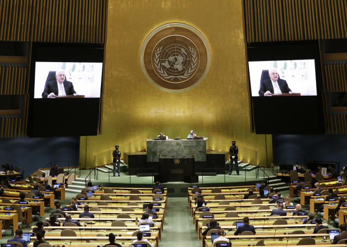 Palestinian President Mahmoud Abbas via remote addresses the 76th Session of the U.N. General Assembly at United Nations headquarters in New York, on Friday, Sept. 24, 2021. ( John Angelillo /Pool Photo via AP)