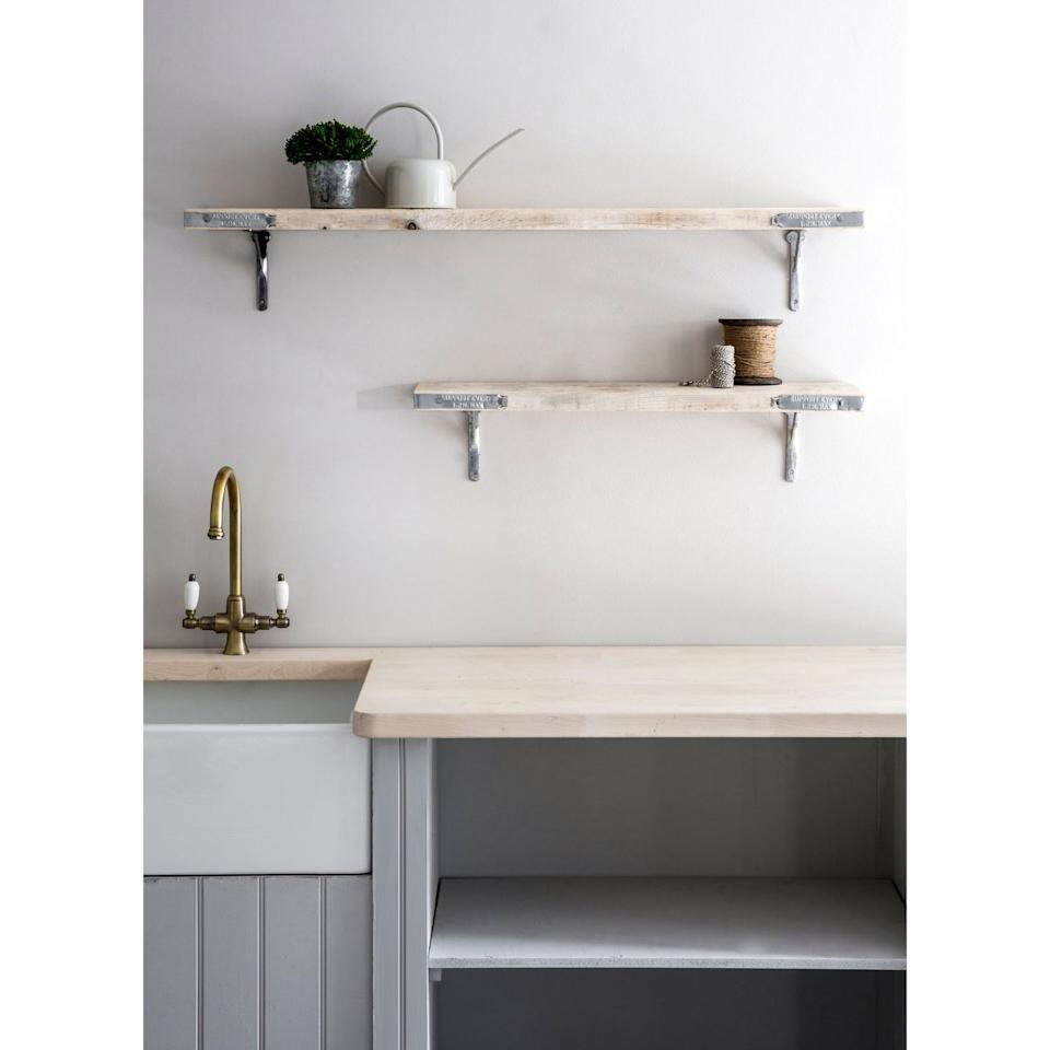 "<p>If you're stuck for storage space in your kitchen, open shelving is a brilliant way to provide a place for additional pots and pans to live — while also looking incredibly chic too. Love this!<br><br>'If you want to recreate the Instagram look in your home, opt for open shelving as opposed to wall cabinets – it looks very sophisticated especially in contemporary settings,' Sally Hinks, kitchen designer at <a href=""https://www.harveyjones.com/"" target=""_blank"">Harvey Jones</a> tells us.<br></p><p>Insider tip: If you can't quite find the ones you're after, why not get your hands on some affordable shelves and paint them a colour of your choice. </p><p><strong>Pictured</strong>: <a href=""https://www.gardentrading.co.uk/home/indoor-furniture/shelving-hooks/raw-scaffold-shelf-large.html"" target=""_blank"">Scaffolded shelf, £65, Garden Trading</a> </p><p><a class=""body-btn-link"" href=""https://go.redirectingat.com?id=127X1599956&url=https%3A%2F%2Fwww.gardentrading.co.uk%2Fhome%2Findoor-furniture%2Fshelving-hooks%2Fraw-scaffold-shelf-large.html&sref=https%3A%2F%2Fwww.delish.com%2Fuk%2Fkitchen-accessories%2Fg28982160%2Finstagram-kitchen-ideas%2F"" target=""_blank"">BUY NOW</a></p>"