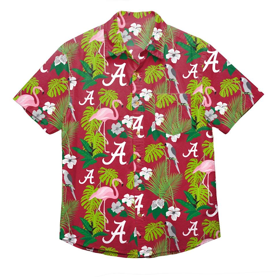 """<p>sportsfanisland.com</p><p><strong>$59.99</strong></p><p><a href=""""https://www.sportsfanisland.com/collections/alabama-crimson-tide/products/alabama-crimson-tide-ncaa-mens-floral-button-up-shirt"""" rel=""""nofollow noopener"""" target=""""_blank"""" data-ylk=""""slk:Shop Now"""" class=""""link rapid-noclick-resp"""">Shop Now</a></p><p>In a classic case of why-didn't-we-think-of-this, the folks at Sports Fan Island have found a way to fuse sports fandom with casual Fridays. Find your favorite team across five major sports categories (NFL, MLB, NCAA, NBA, NHL)—then peruse tropical garb (like Hawaiian shirts in team colors!) for your good-vibes-only-bro weekend wardrobe.</p>"""