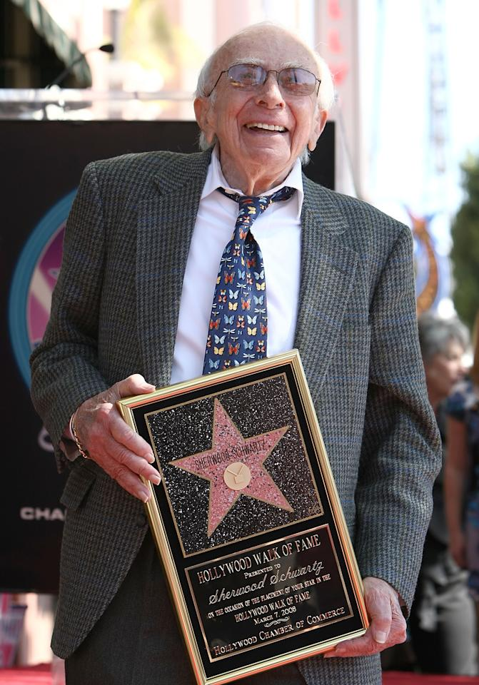HOLLYWOOD - FILE:  Producer Sherwood Schwartz attends the Hollywood Walk of Fame Star Ceremony honoring producer Sherwood Schwartz on March 7, 2008 in Hollywood, California. Sherwood Schwartz passed away at the age of 94. (Photo by Alberto E. Rodriguez/Getty Images)