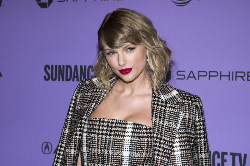 """FILE -  In a Thursday, Jan. 23, 2020 file photo, Taylor Swift attends the premiere of """"Taylor Swift: Miss Americana"""" at the Eccles Theater during the 2020 Sundance Film Festival in Park City, Utah.  Several top record labels organized Black Out Tuesday on June 2, 2020 as riots erupted around the world sparked by Floyd's death as well as the killings of Ahmaud Arbery and Breonna Taylor. Musicians including Rihanna, Beyoncé, Taylor Swift, Lil Nas X, Demi Lovato, Post Malone and Harry Styles have spoken out following Floyd's death and the worldwide riots. (Photo by Charles Sykes/Invision/AP, File)"""