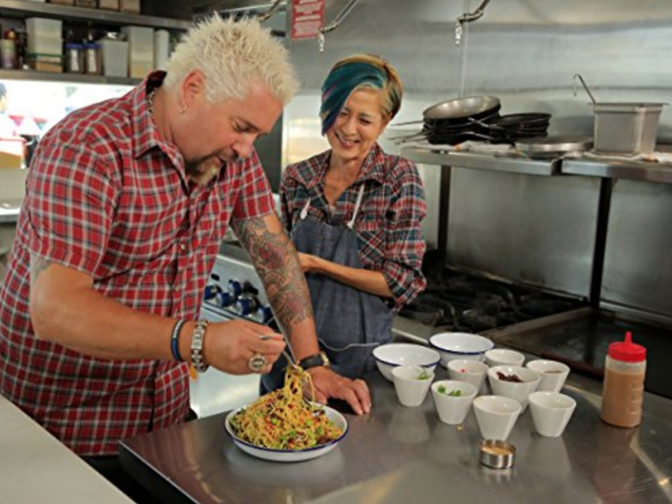 """<p>The research and planning process take months, but once it's time to shoot the show, the crew hits the road and films nonstop. Executive Producer David Page told <a href=""""http://heavytable.com/david-page-of-diners-drive-ins-and-dives/"""" rel=""""nofollow noopener"""" target=""""_blank"""" data-ylk=""""slk:Heavy Table"""" class=""""link rapid-noclick-resp"""">Heavy Table</a> that they usually shoot seven restaurants in every city that they visit.</p>"""