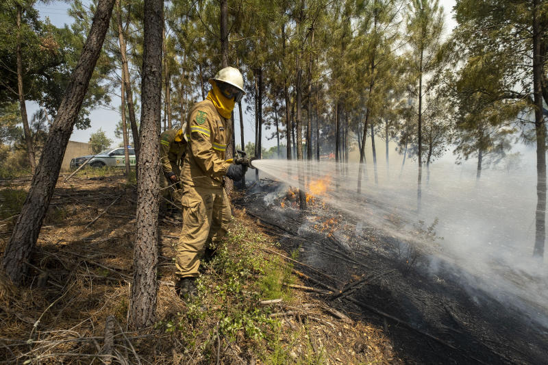 Firefighters try to extinguish a wildfire near Colos village, in central Portugal on Monday, July 22, 2019. More than 1,000 firefighters battled Monday in torrid weather against a major wildfire in Portugal, where every summer forest blazes wreak destruction. (AP Photo/Sergio Azenha)