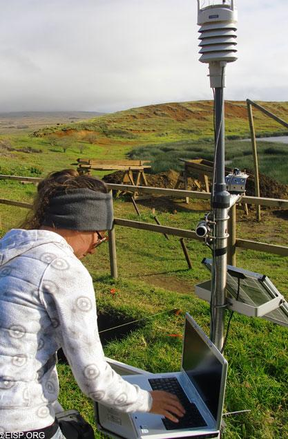 """Tahira Edmunds downloads information from the environmental monitoring equipment, on site. <br> <a href=""""http://www.eisp.org/"""" rel=""""nofollow noopener"""" target=""""_blank"""" data-ylk=""""slk:For more information visit the Easter Island Statue Project"""" class=""""link rapid-noclick-resp"""">For more information visit the Easter Island Statue Project</a>"""