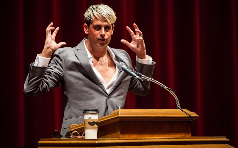 "Controversial figure, Milo Yiannopoulos, was ""no platformed"" at Manchester University in 2015 - Credit: ZUMA Wire/REX/Shutterstock"