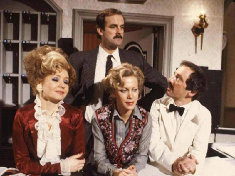'Fawlty Towers': Prunella Scales as Sybil Fawlty, Cleese as Basil Fawlty, Connie Booth as Polly Sherman and Andrew Sachs as Manuel