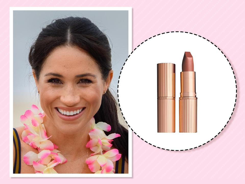 "<p>Before she officially became a royal, Markle already had a favorite British beauty brand. <a href=""https://us.hellomagazine.com/healthandbeauty/makeup/2017120644548/meghan-markle-nude-lipstick-beauty-products/"" rel=""nofollow noopener"" target=""_blank"" data-ylk=""slk:According to Hello"" class=""link rapid-noclick-resp"">According to <em>Hello</em></a>, the former actress is a fan of a certain nude shade of Charlotte Tilbury lipstick inspired by Victoria Beckham herself. (Photo: Getty Images)<br><strong><a href=""https://fave.co/2DhQmEb"" rel=""nofollow noopener"" target=""_blank"" data-ylk=""slk:Shop it"" class=""link rapid-noclick-resp"">Shop it</a>:</strong> $34, <a href=""https://fave.co/2DhQmEb"" rel=""nofollow noopener"" target=""_blank"" data-ylk=""slk:charlottetilbury.com"" class=""link rapid-noclick-resp"">charlottetilbury.com</a> </p>"