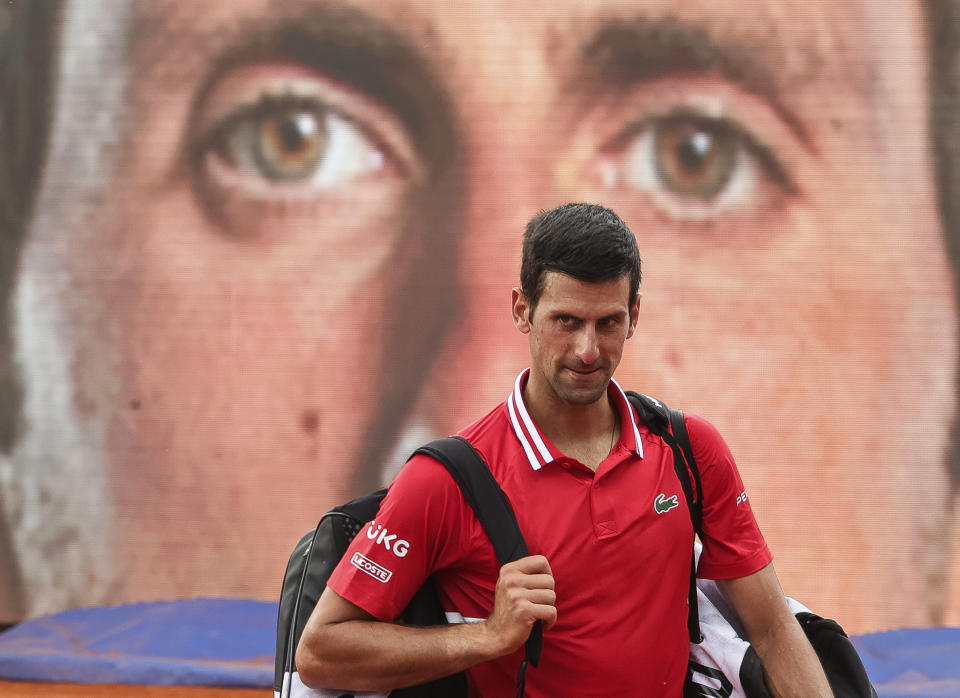 BELGRADE, SERBIA - MAY 25: Novak Djokovic of Serbia looks on after his men's singles second round match against Mats Moraing of Germany on Day 3 of the ATP 250 Belgrade Open at Novak Tennis Centre on May 25, 2021 in Belgrade, Serbia. (Photo by Srdjan Stevanovic/Getty Images)