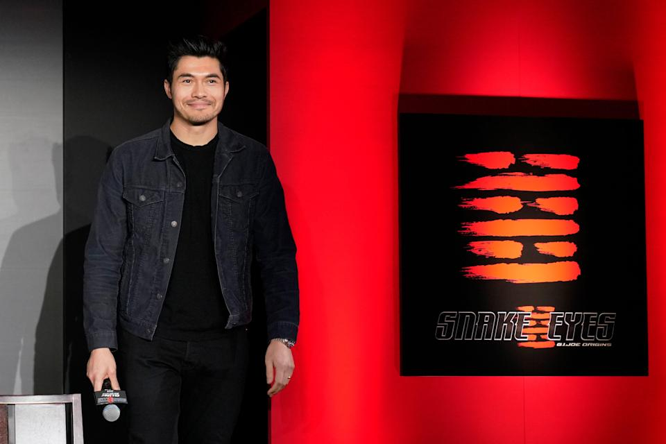 """Henry Golding attends a start-of-production event in Japan for """"Snake Eyes"""" in 2020"""
