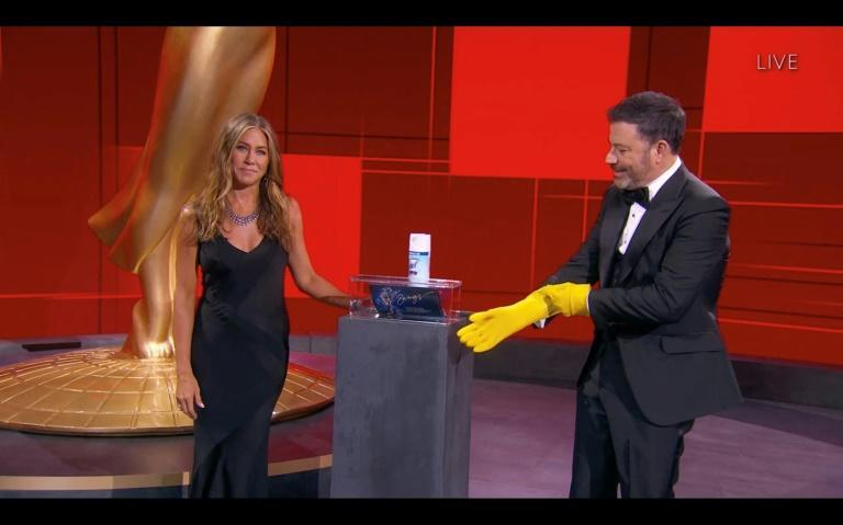 """The Emmys ceremony was held in a mostly empty venue in Los Angeles -- with host Jimmy Kimmel dubbing them """"the pand-Emmys"""""""