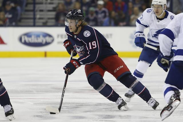 Columbus Blue Jackets' Ryan Dzingel plays against the Tampa Bay Lightning during Game 3 of an NHL hockey first-round playoff series Sunday, April 14, 2019, in Columbus, Ohio. (AP Photo/Jay LaPrete)