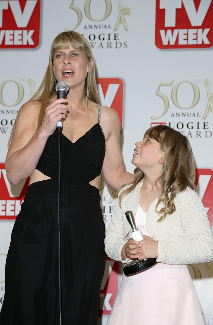 Terri Irwin and Bindi Irwin speak backstage with Bindi's Silver Logie Award for Most Popular New Female Talent in the Media Room at the 50th Annual TV Week Logie Awards at the Crown Towers Hotel and Casino on May 4, 2008 in Melbourne, Australia. (Photo by Kristian Dowling/Getty Images)