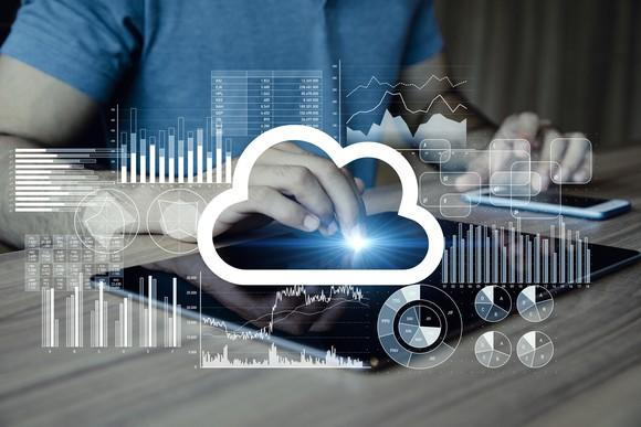 Person using mobile devices and getting analytics from the cloud