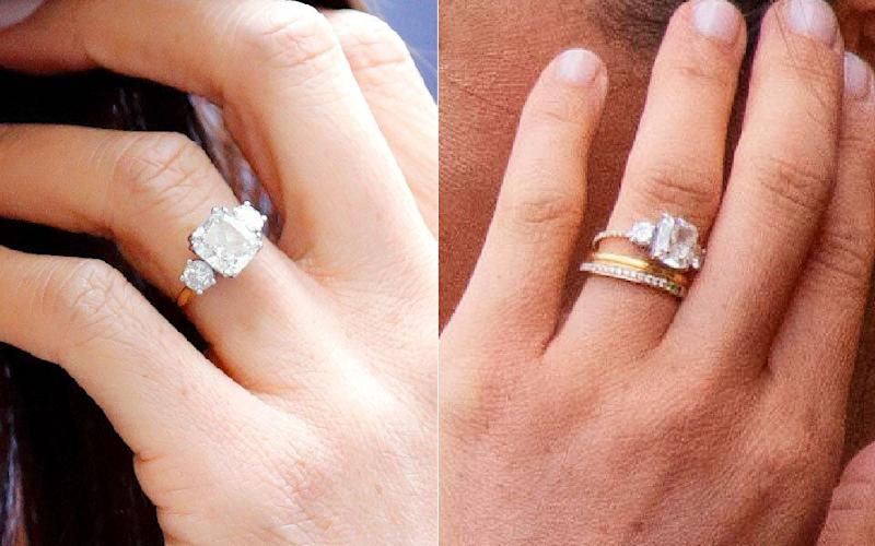 Meghan's original band on left, and her updated band (and new eternity ring) on the right. (Photo: Getty Images/Alamy)