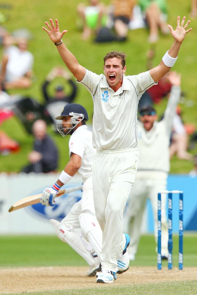 WELLINGTON, NEW ZEALAND - FEBRUARY 18: Tim Southee of New Zealand makes an unsuccessful appeal during day five of the 2nd Test match between New Zealand and India on February 18, 2014 in Wellington, New Zealand. (Photo by Hagen Hopkins/Getty Images)