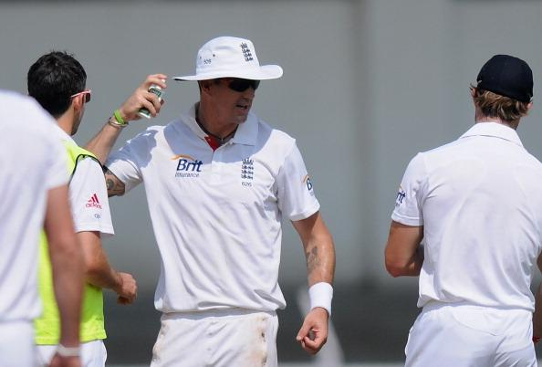MUMBAI, INDIA - NOVEMBER 01:  Kevin Petersen of England applies a skin lotion during the final day of the first practice match between England and India 'A' at the CCI (Cricket Club of India) ground, on November 1, 2012 in Mumbai, India.  (Photo by Pal Pillai/Getty Images)