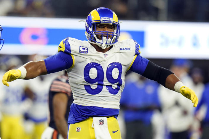 FILE- In this Sunday, Sept. 12, 2021, file photo, Los Angeles Rams defensive end Aaron Donald reacts during the second half of an NFL football game against the Chicago Bears in Inglewood, Calif. Donald's first game in his 30s looked like most of his dominant performances from his 20s with the Rams. (AP Photo/Jae C. Hong, File)