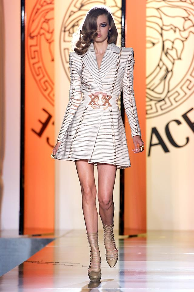 PARIS, FRANCE - JULY 01:  A model walks the runway during the Versace Haute-Couture show as part of Paris Fashion Week Fall / Winter 2013 at the Ritz hotel on July 1, 2012 in Paris, France.  (Photo by Pascal Le Segretain/Getty Images)