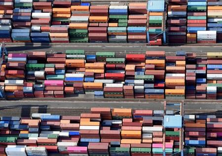 Aerial view of containers at a loading terminal in the port of Hamburg