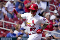 St. Louis Cardinals' Tyler O'Neill celebrates as he rounds the bases after hitting a solo home run during the fifth inning of a baseball game against the Los Angeles Dodgers Thursday, Sept. 9, 2021, in St. Louis. (AP Photo/Jeff Roberson)